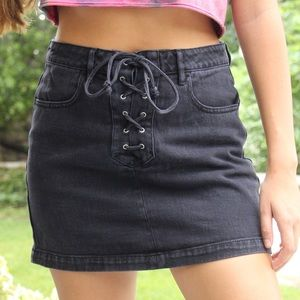 Black Front Tie Denim Skirt